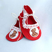 Работы для детей, handmade. Livemaster - original item booties from felt with embroidered booties as a gift.. Handmade.