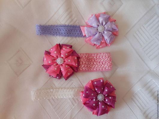 Детская бижутерия ручной работы. Ярмарка Мастеров - ручная работа. Купить Повязка на голову с цветком. Handmade. Комбинированный, повязка с цветком