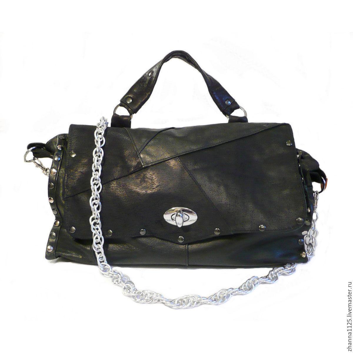 38e3a20d780a Женская кожаная сумка. Купить женскую сумку `Гламурный рок`. Handmade.