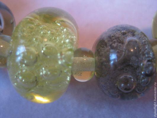 """Колье, бусы ручной работы. Ярмарка Мастеров - ручная работа. Купить Колье из муранского стекла """"Воздушные пузырьки желтый+серый"""". Handmade."""