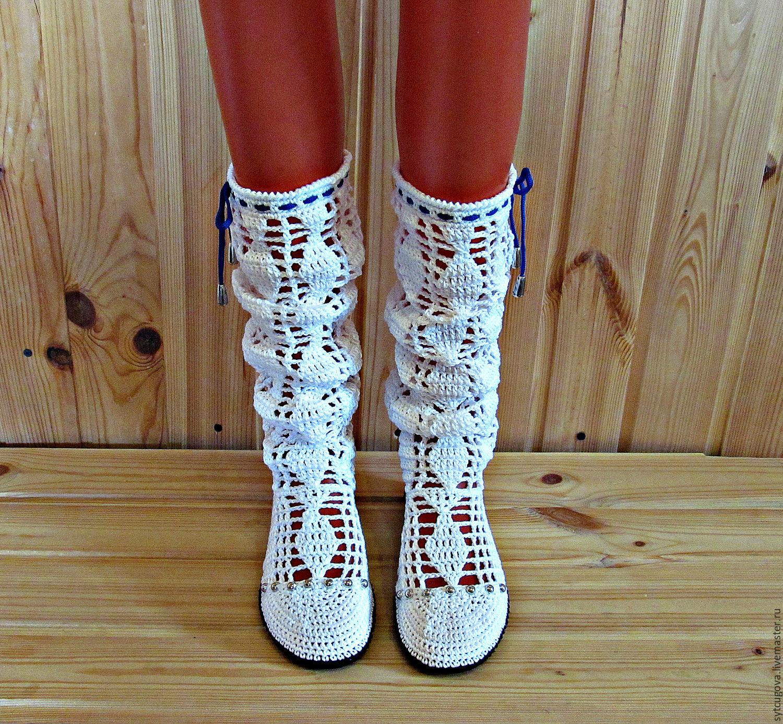 acbbacfe495c49 Сапоги вязаные. Сапожки крючком. Сапоги летние. Обувь вязаная. Обувь  крючком.