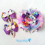 Работы для детей, ручной работы. Ярмарка Мастеров - ручная работа Американский бантик My Little Pony, комплект заколок для девочки. Handmade.