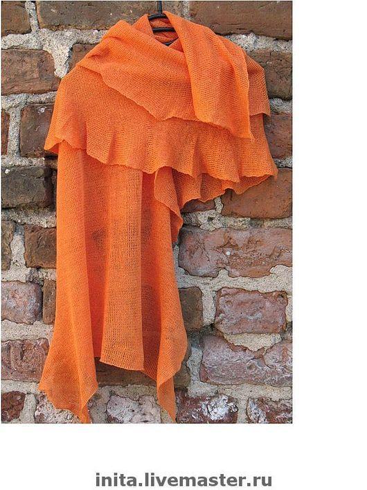 Шарфы и шарфики ручной работы. Ярмарка Мастеров - ручная работа. Купить Шарф льняной Оранжевый 60 x 155cm. Handmade.