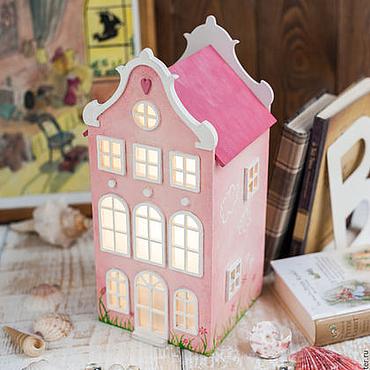 Для дома и интерьера ручной работы. Ярмарка Мастеров - ручная работа Pink. Розовый Домик.Светильник-ночник для настоящей Алисы :). Handmade.