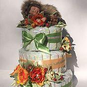 Подарки к праздникам ручной работы. Ярмарка Мастеров - ручная работа Торт из памперсов. Мой милый ежик.. Handmade.