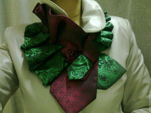 Воротнички ручной работы. Ярмарка Мастеров - ручная работа. Купить Украшение из винтажных галстуков. Handmade. Зеленый, воротник, винтаж, фурнитура