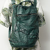 Сумки и аксессуары handmade. Livemaster - original item Backpack, genuine leather, Emerald backpack Shape-Shifting 2. Handmade.