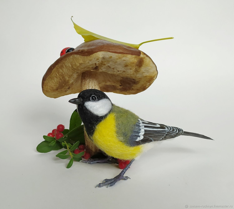 Птица Синица из шерсти, Войлочная игрушка, Великие Луки,  Фото №1