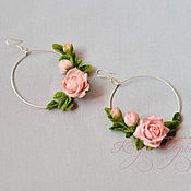 Украшения handmade. Livemaster - original item Earrings on silver fittings with flowers from polymer clay. Handmade.