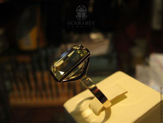 Кольца ручной работы. Ярмарка Мастеров - ручная работа. Купить Золотое кольцо с цитрином. Handmade. Золотой, ручная авторская работа