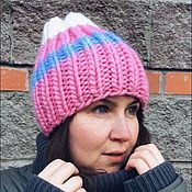 handmade. Livemaster - original item Bright pink beanie hat with stripes. Handmade.