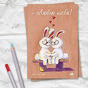 Открытки handmade. Livemaster - original item Author`s card with rabbits in love