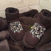 """Обувь ручной работы. Ярмарка Мастеров - ручная работа Угги со стразами """"Natali"""" натуральные. Handmade."""