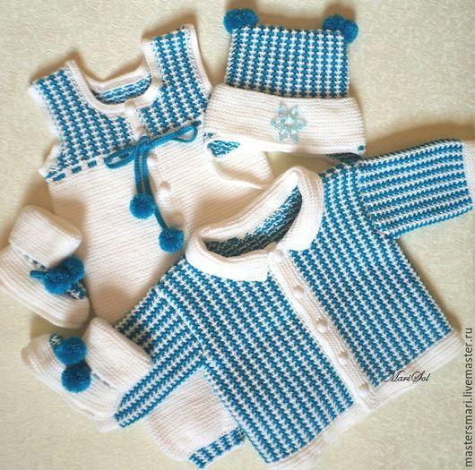 Одежда ручной работы. Ярмарка Мастеров - ручная работа. Купить Комплект для малыша со снежинкой.. Handmade. Белый, пинетки для мальчика