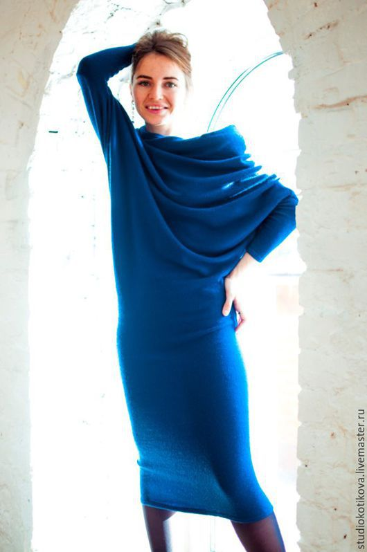 Платья ручной работы. Ярмарка Мастеров - ручная работа. Купить Теплое платье из мягкой шерсти. Handmade. Тёмно-синий, Трансформер