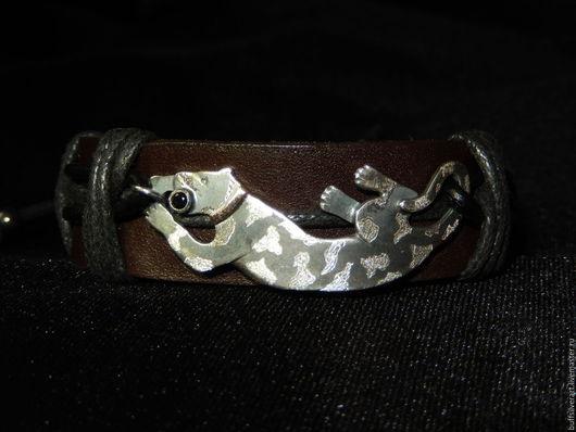 """Браслеты ручной работы. Ярмарка Мастеров - ручная работа. Купить Бохо-браслет """" At reliqua"""".Кожа,серебро,шерл,золото.. Handmade."""
