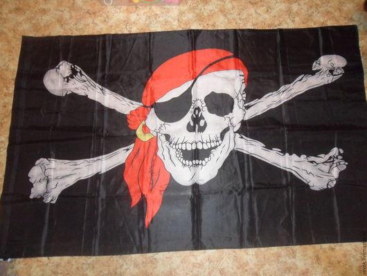 """Шитье ручной работы. Ярмарка Мастеров - ручная работа. Купить Флаг """"Весёлый Роджер"""". Handmade. Черный, пиратский, полиэстер"""