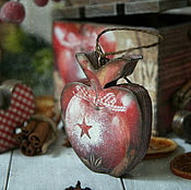 Подарки к праздникам handmade. Livemaster - original item Box of Christmas toys Apples with cinnamon. Decoupage. Handmade.