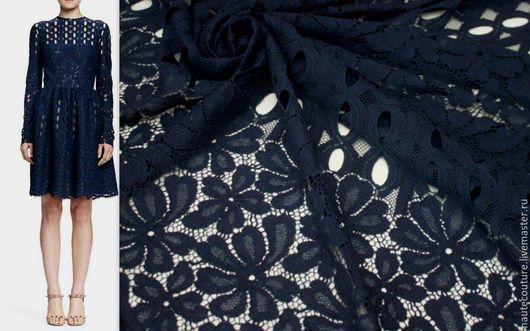 Шитье ручной работы. Ярмарка Мастеров - ручная работа. Купить Lanvin original кружево!. Handmade. Тёмно-синий, итальянские ткани