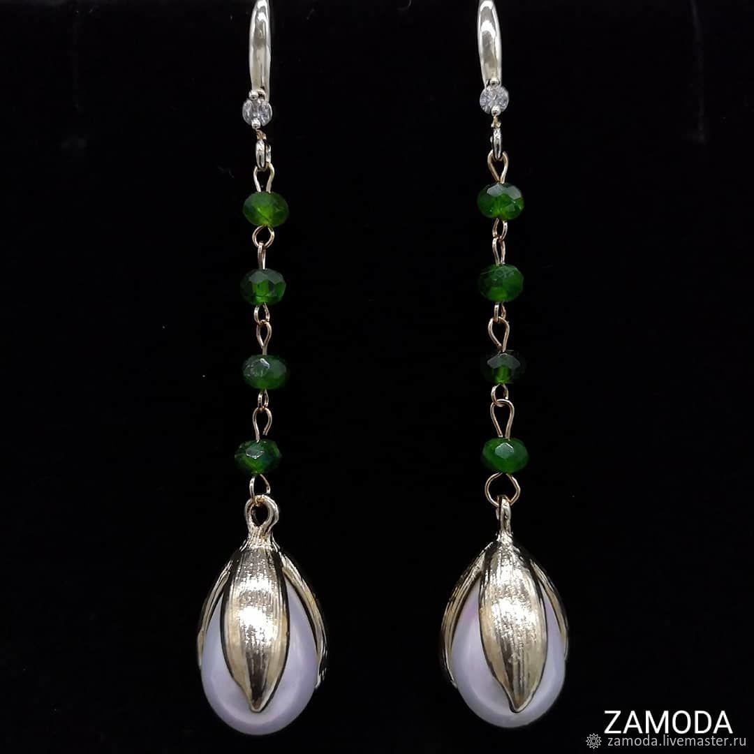 Earrings with chrome diopside (or aquamarine) and majolica, Earrings, Kotelniki,  Фото №1
