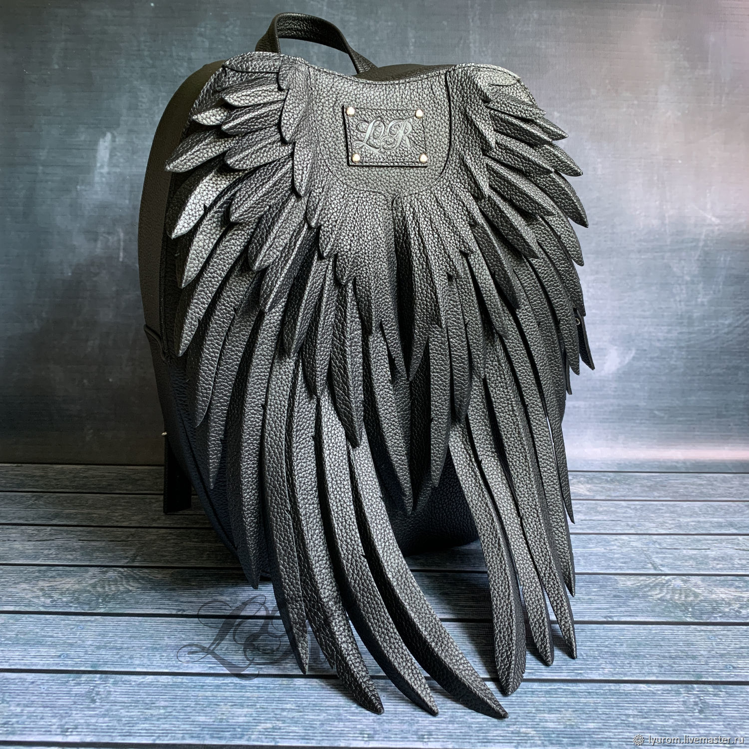 Women's leather backpack ' Black wings maxi', Backpacks, Moscow,  Фото №1