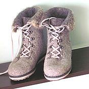"""Обувь ручной работы. Ярмарка Мастеров - ручная работа Ботинки валяные """"Серый меланж"""". Handmade."""