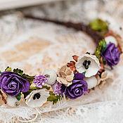 Украшения ручной работы. Ярмарка Мастеров - ручная работа Фиолетовый ободок для волос, Фиолетовый венок с цветами,  Прованс. Handmade.