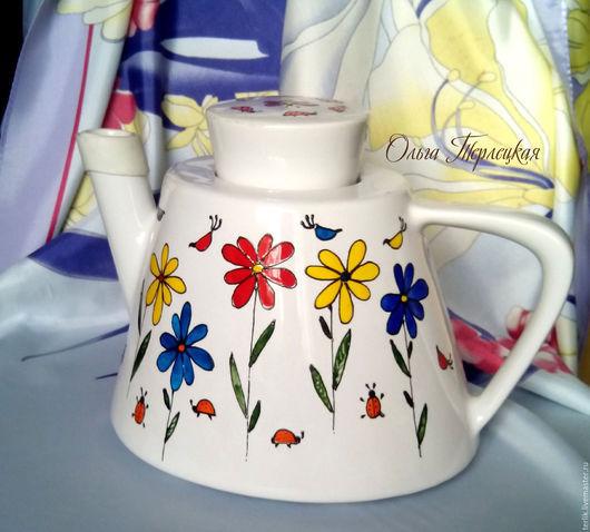 Заварочный чайник с авторской росписью керамика купить в Москве. Доставка. Большой выбор.