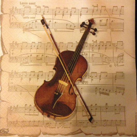 Салфетка для декупажа - скрипка Моцарта - 1 шт.ост. Декупажная радость