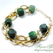 Украшения handmade. Livemaster - original item Jade Gold Bracelet