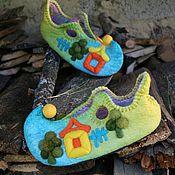 """Обувь ручной работы. Ярмарка Мастеров - ручная работа Валяные тапочки """"Это было летом, летом, летом..."""". Handmade."""