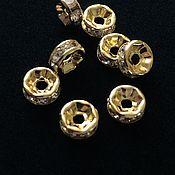 Бусины ручной работы. Ярмарка Мастеров - ручная работа Бусины 6 мм разделители-спейсеры, цвет золото. Handmade.