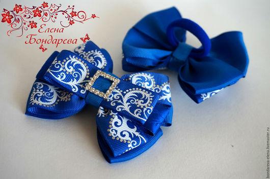 Заколки ручной работы. Ярмарка Мастеров - ручная работа. Купить Бантики синие для школы.. Handmade. Синий, украшение для волос