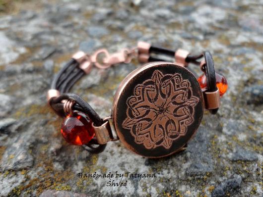 """Браслеты ручной работы. Ярмарка Мастеров - ручная работа. Купить браслет """"Часики"""" с кельтским узором. Handmade. Рыжий, украшение на руку"""
