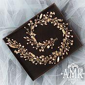 Украшения в прическу ручной работы. Ярмарка Мастеров - ручная работа Bridal Hair Vine, Wedding hair wreath, golden hair vine. Handmade.