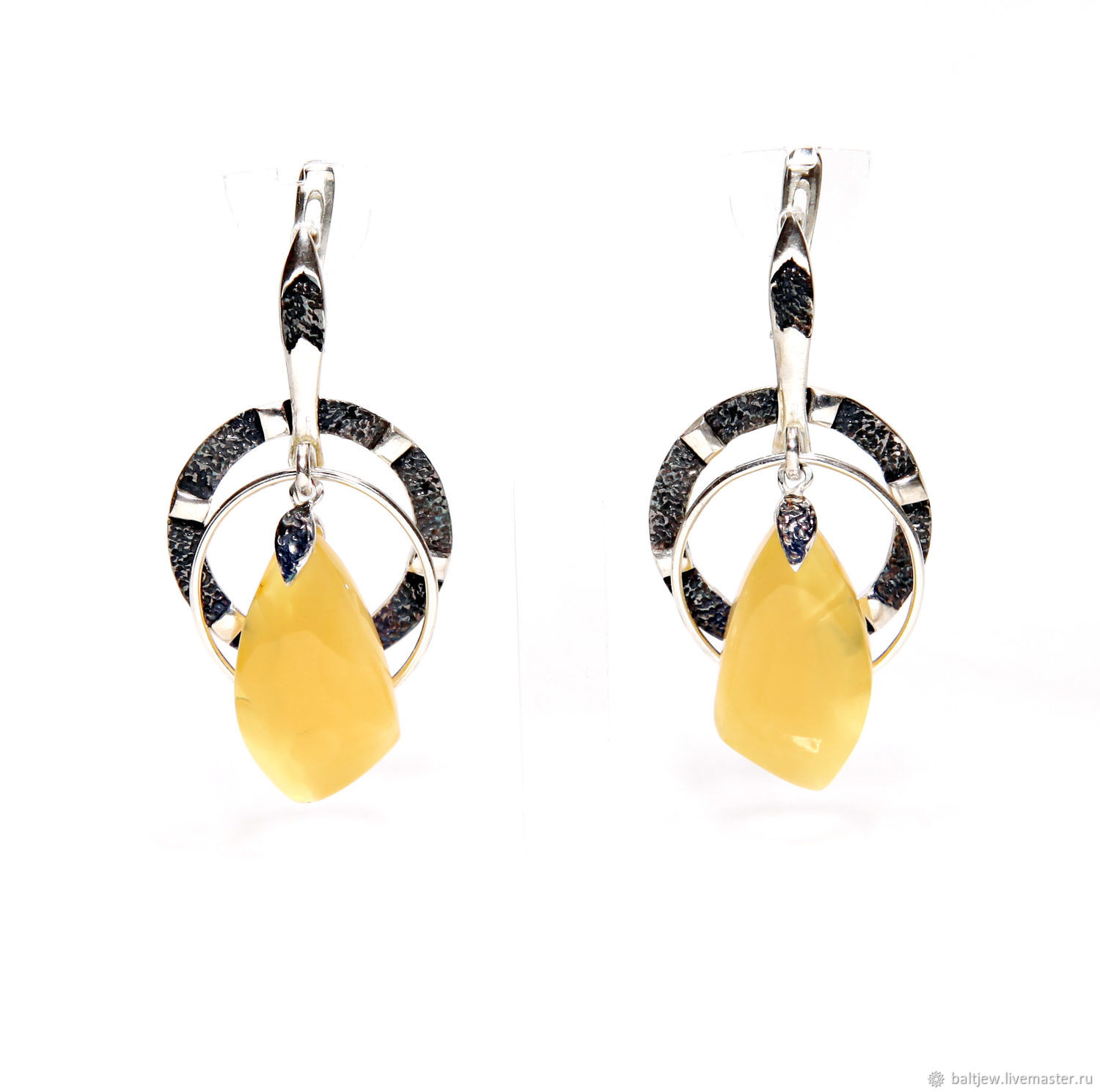 Earrings with amber in silver 'Baltic mystery', Earrings, Moscow,  Фото №1