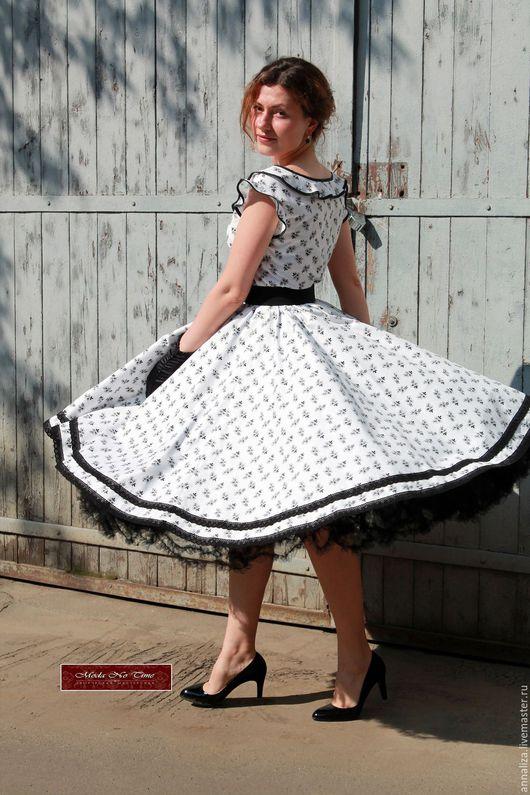 """Платья ручной работы. Ярмарка Мастеров - ручная работа. Купить Платье в стиле 50-х """"Черно-белое кино"""". Handmade."""