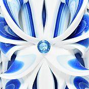 Резная свеча большая - белый синий - морозные узоры