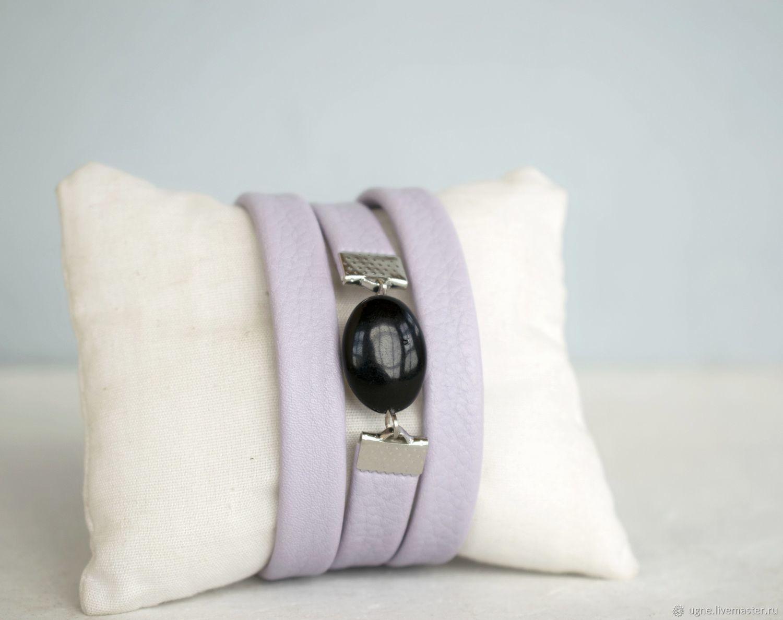 Lilac leather bracelet for a girl as a gift, Bead bracelet, Cheremshanka,  Фото №1