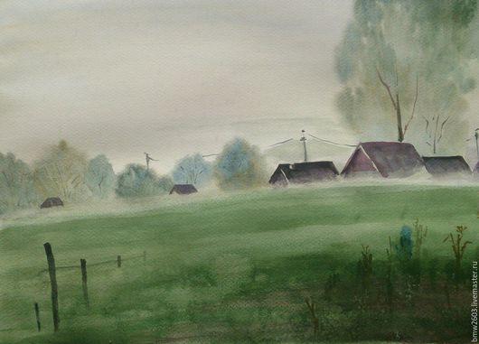 Пейзаж ручной работы. Ярмарка Мастеров - ручная работа. Купить Туман. Handmade. Туман, акварель, акварельная картина, зеленый, утро