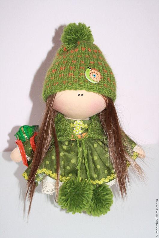 Куклы тыквоголовки ручной работы. Ярмарка Мастеров - ручная работа. Купить Горошинка. Handmade. Зеленый, подарок, интерьерная кукла