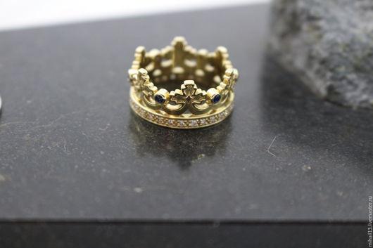 """Кольца ручной работы. Ярмарка Мастеров - ручная работа. Купить Золотое кольцо """"Корона"""" с бриллиантами и сапфирами. Handmade. Золотой, сапфиры"""