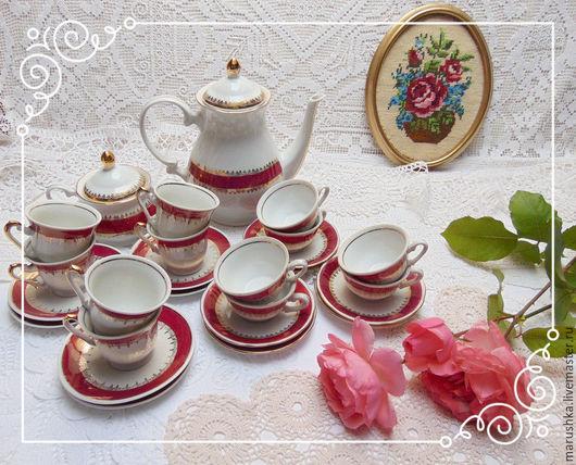 Винтажная посуда. Ярмарка Мастеров - ручная работа. Купить Винтажный кофейный/чайный  сервиз на 12 персон,Европа 70-е. Handmade.