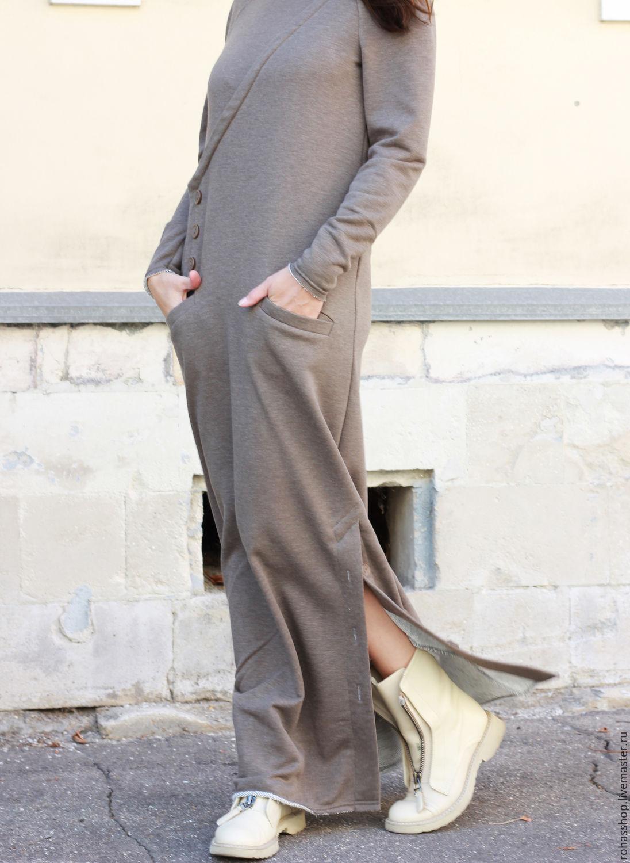 7af753ed000 R00092 Теплое платье в пол песочного цвета. Красивое и элегантное платье из  мягкого трикотажа.