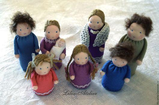 Вальдорфская игрушка ручной работы. Ярмарка Мастеров - ручная работа. Купить Кукольная семейка. Handmade. Комбинированный, натуральные материалы