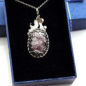Украшения handmade. Livemaster - original item Pendant silver with lepidolite decoration pendant silver for women. Handmade.
