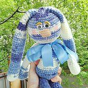 Куклы и игрушки ручной работы. Ярмарка Мастеров - ручная работа Заяц вязаный голубой. Handmade.