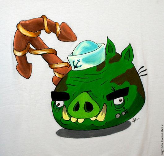 """Футболки, майки ручной работы. Ярмарка Мастеров - ручная работа. Купить Футболка """"Свин"""" из Angry birds Epic (0918). Handmade."""