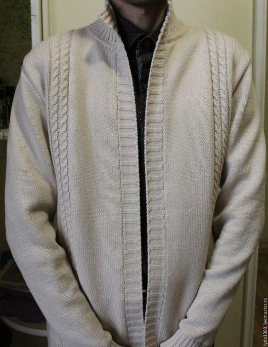 Кофты и свитера ручной работы. Ярмарка Мастеров - ручная работа. Купить Кардиган мужской. Handmade. Бежевый, меринос 100%