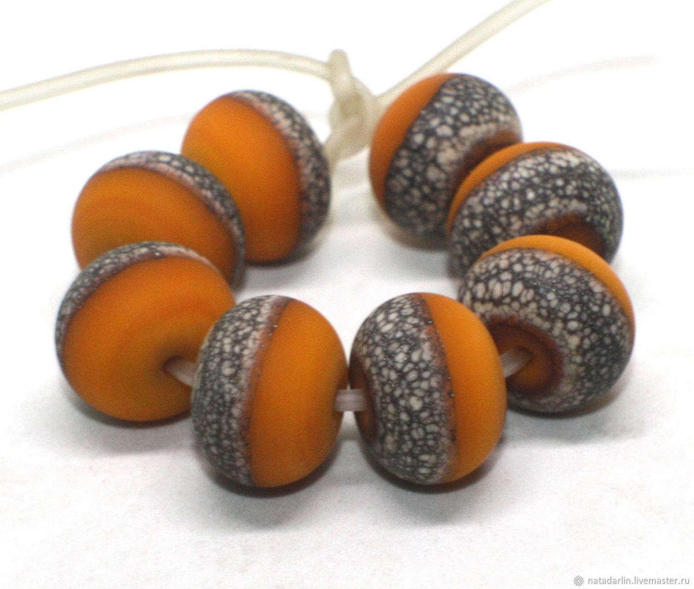 Set of 8 matte beads 13 (14) mm, handmade lampwork, Beads1, Nizhnij Lomov,  Фото №1